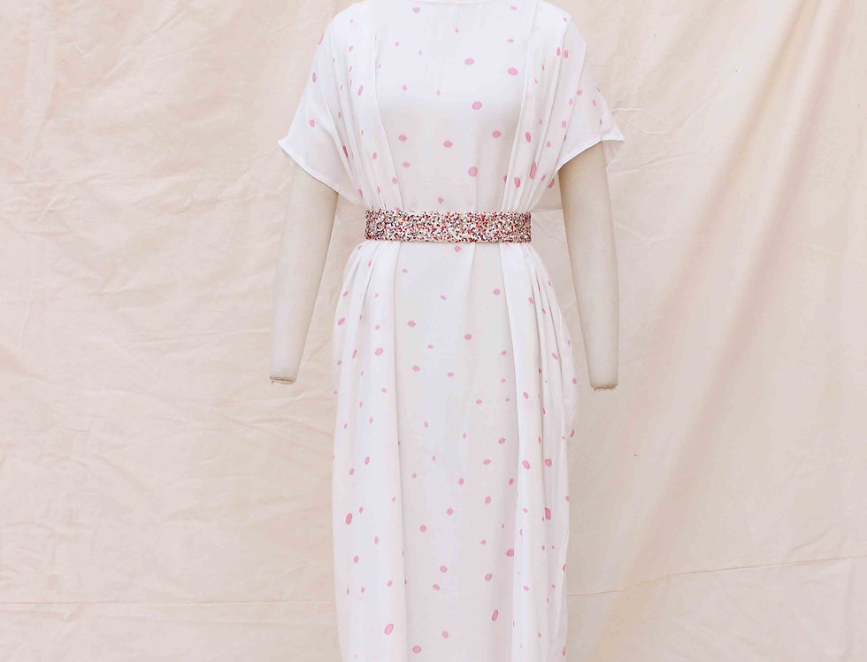Pink Polka Hand Painted Long Bamboo silk