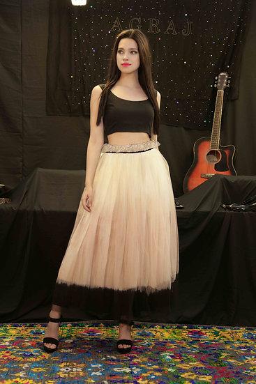 Peach Doll Skirt with sleeveless blouse