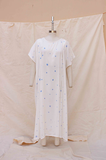 Ink Blue Polka Hand Painted Long Bamboo silk