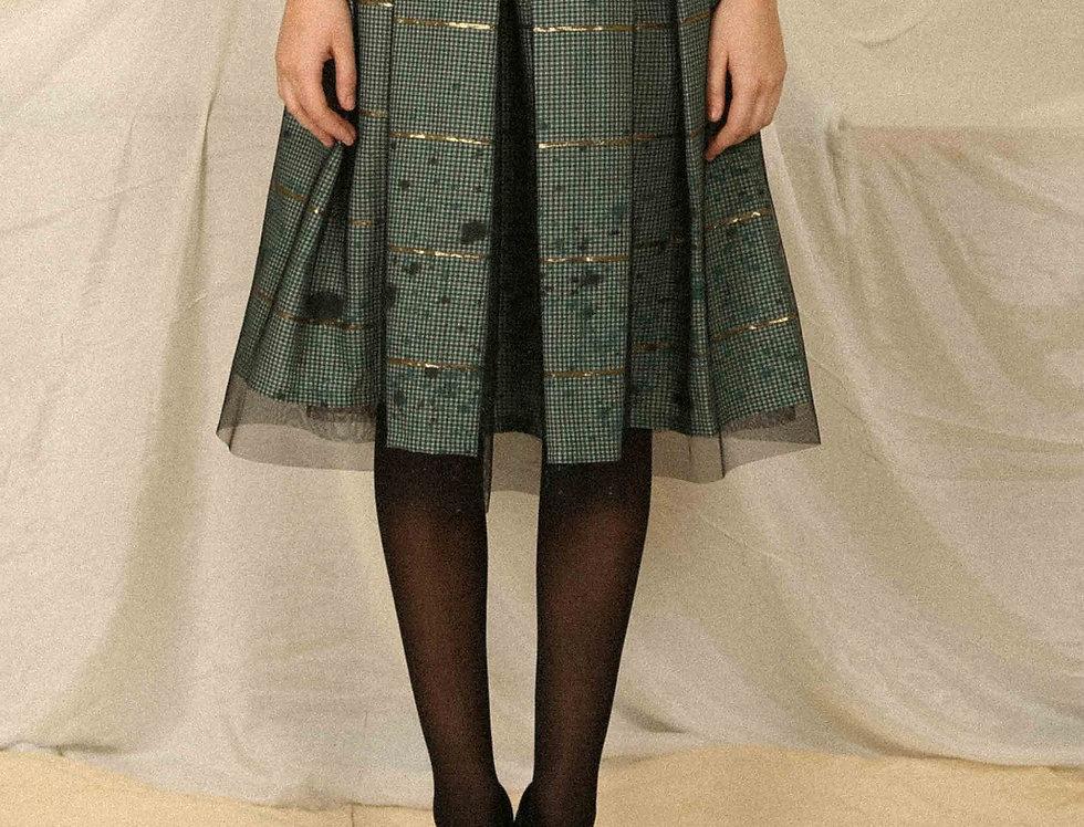Bottle Green Check Skirt