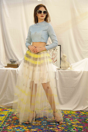 Lemon YellowHand Painted Tulle Skirt with Blue Embroidered Top
