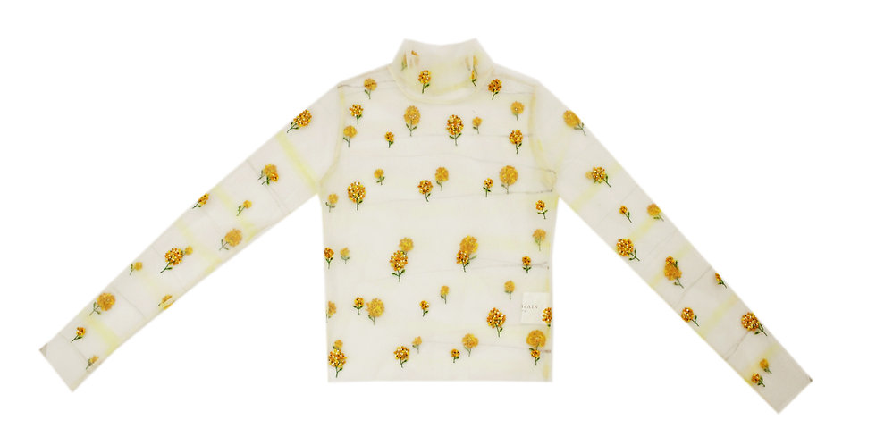 White, Marigold embroidered, sheer top with Bottle Green blouse & Skirt