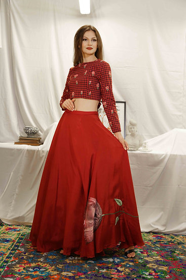 MaroonCheck Blouse with Marigold embroidery & Skirt