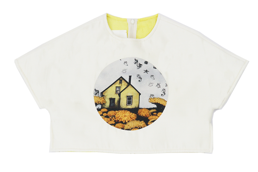 "White ""The Enchanted House"" print Landscape 'Peace Silk' top"
