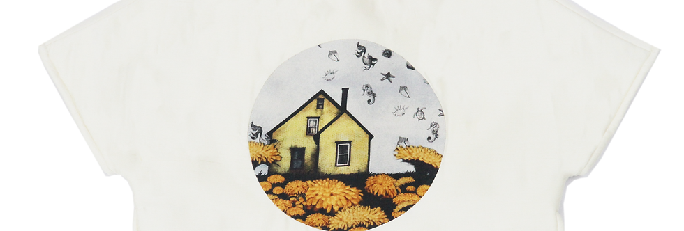 """White """"The Enchanted House"""" print Landscape 'Peace Silk' top"""