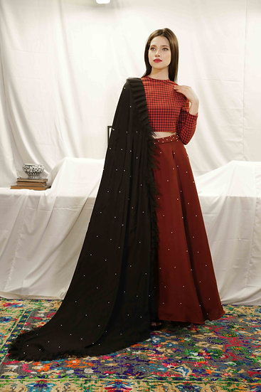 Maroon Check Blouse with Wine Pearl Skirt & Black Dupatta