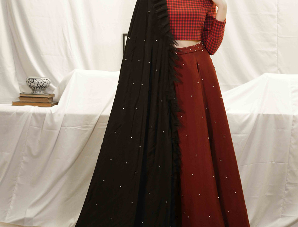 MaroonCheck Blouse with Wine Pearl Skirt & Black Dupatta