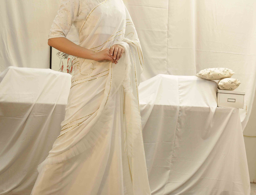 White Roman Saree with Gold Embroidery
