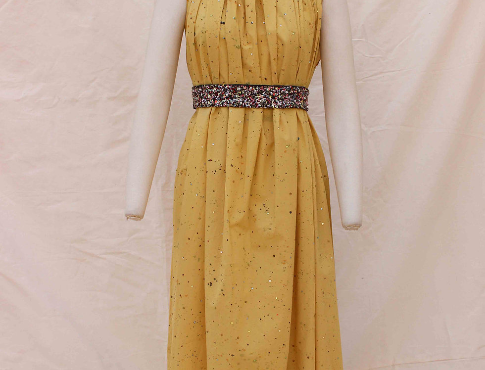 Ochre Hand painted, hand embroidered sequinned dress