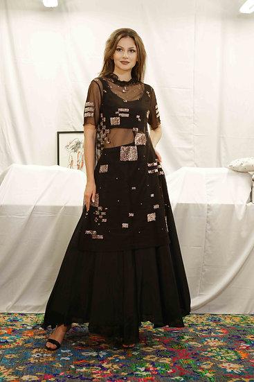 Shimmer Box Sheer Kurti with Plain Skirt