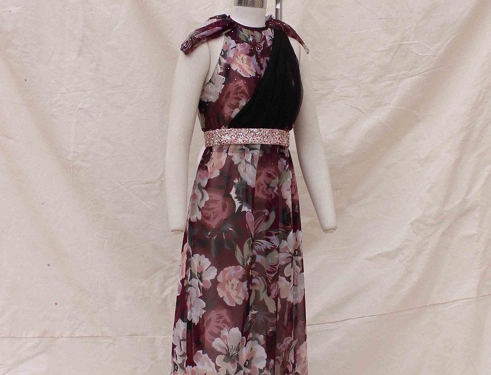 Wine Flower printed cap sleeved dress with Belt