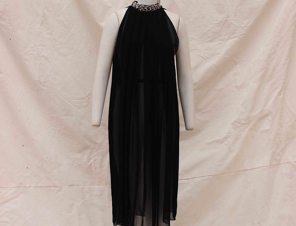 Black Crust collar Trapeze dress