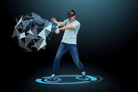 3d technology, virtual reality, entertainment and people concept - happy young man in virtual realit