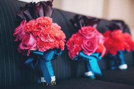 hot pink rose carnation purple calla lil