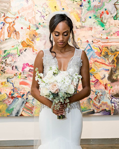 organic white bridal bouquet with eucaly