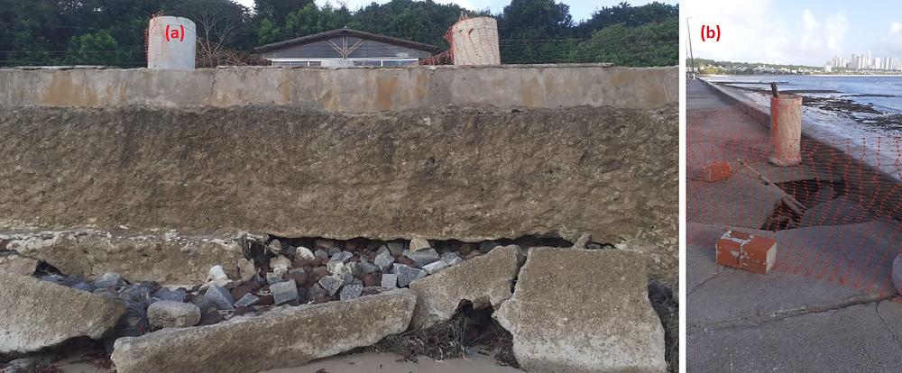 Foto 5: Um dos pontos com fuga de material de apoio da calçada. (a) Vista a partir da praia e (b) Vista a partir da calçada que ruiu, único ponto interditado (Fotos de 13/08/2020).