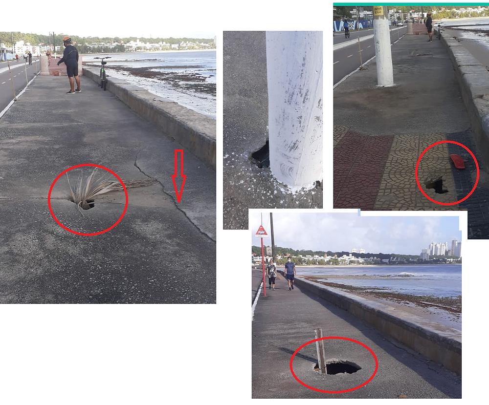 """Foto 6: Conforme previsto: diversos trechos da calçada são """"armadilhas"""" para os pedestres desavisados. Defesa Civil não interditou a área (Fotos: 13/08/2020)."""