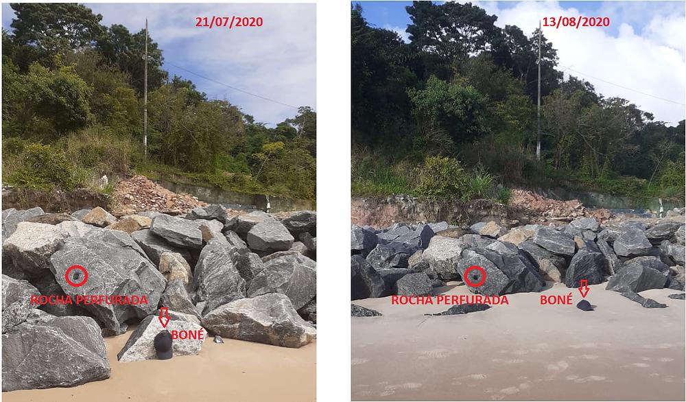 Foto 7: Esquerda: foto feita durante a visita do MPPB ao local da obra (21/07/2020). Direita: Foto em 13/08/2020. As referências assinaladas demonstram o soterramento das pedras da obra da PMJP devido à retenção da areia que deveria estar fluindo para a enseada do Cabo Branco. Em apenas 22 dias é notória a elevação do nível do depósito de areia.