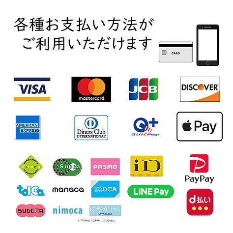 各種クレジット,交通系カード,QR決済等扱っています