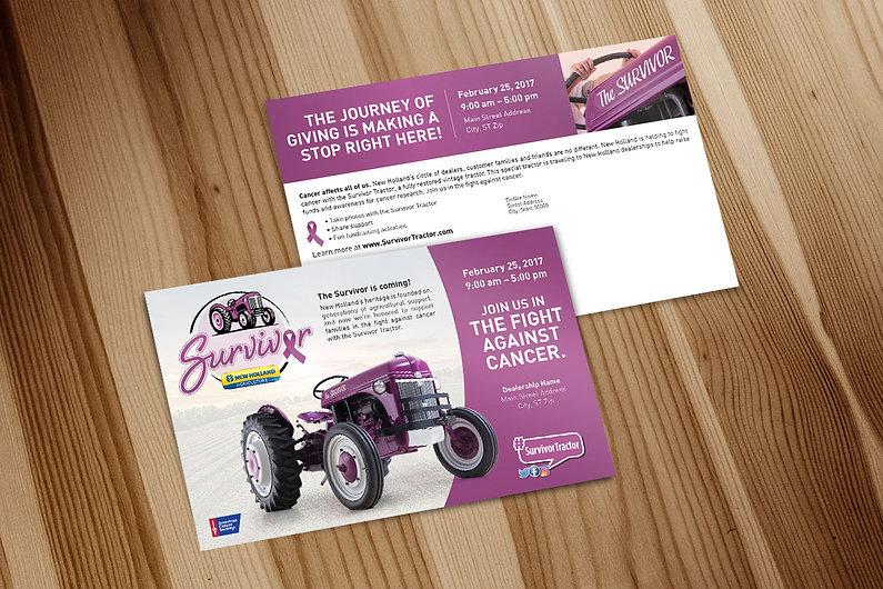 Survivor Tractor, postcard mailer