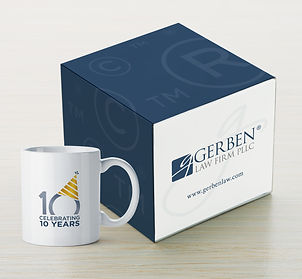 Custom 10-year logo & Shipping box design, Gerben Law Firm