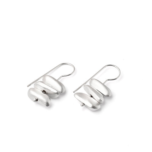 "Sterling Silver ""Triple Stone"" Earrings"