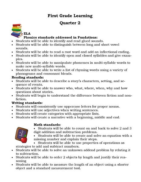 Quarter 2 first grade learning ELA Math.