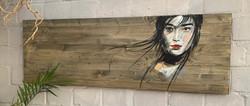 Acrylic painting, wood