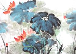 Red lotus flowers