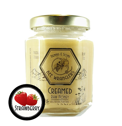 Raw Creamed Honey - Strawberry Infused - 8 oz.