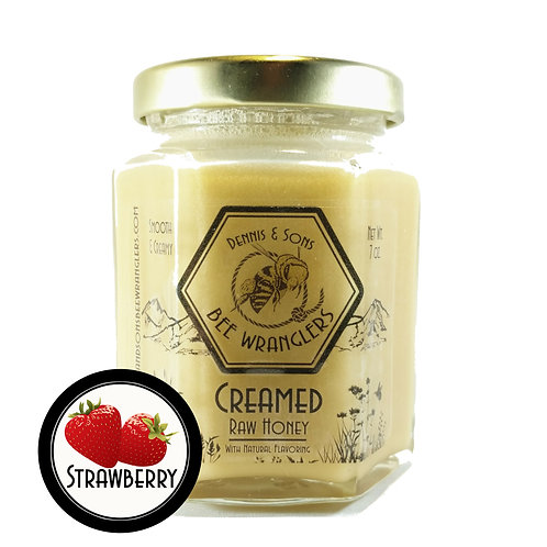 Raw Creamed Honey - Strawberry Infused - 6 oz.