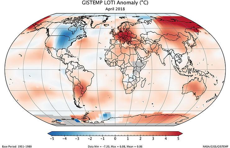 Globe stays warm/April 2018 was third warmest April on record  NASA