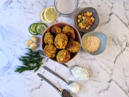 Fritter Bites with Homemade Tzatziki