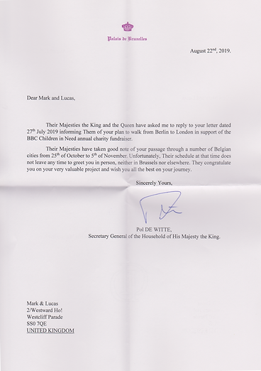 Letter from King & Queen of the Belgians