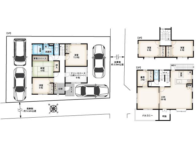 6LDK+2N・建物面積154.01㎡(約46.58坪)