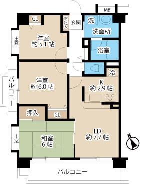 【賃貸情報】東大宮徒歩3分3LDKマンション