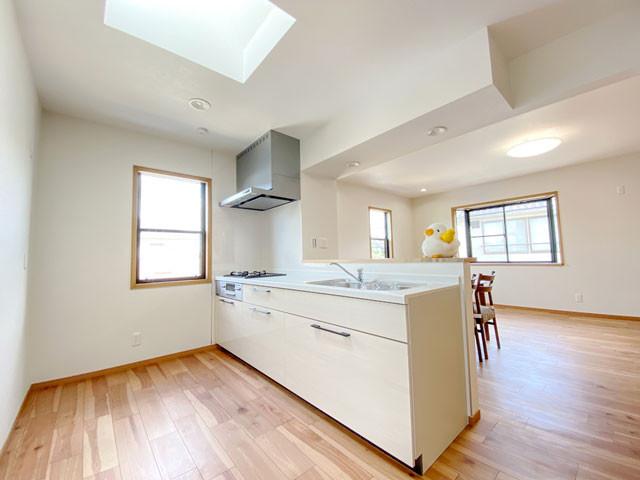 天窓からの光が差し込むキッチンスペース。外階段に繋がる勝手口付。