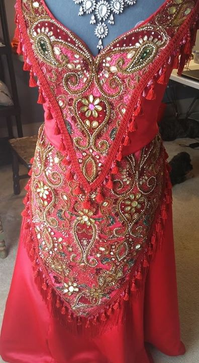 Hello, Dolly red restaurant gown