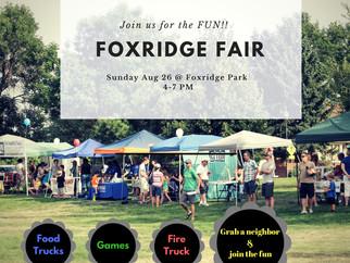 Save The Date---  Foxridge Fair Aug 26