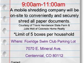 FREE SHRED A THON....SAT APRIL 21 9 AM-11AM