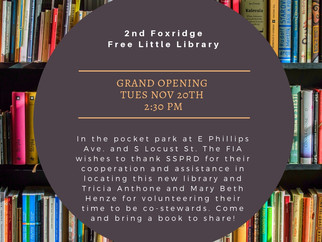2nd Free Little Library OPENS Nov 20th