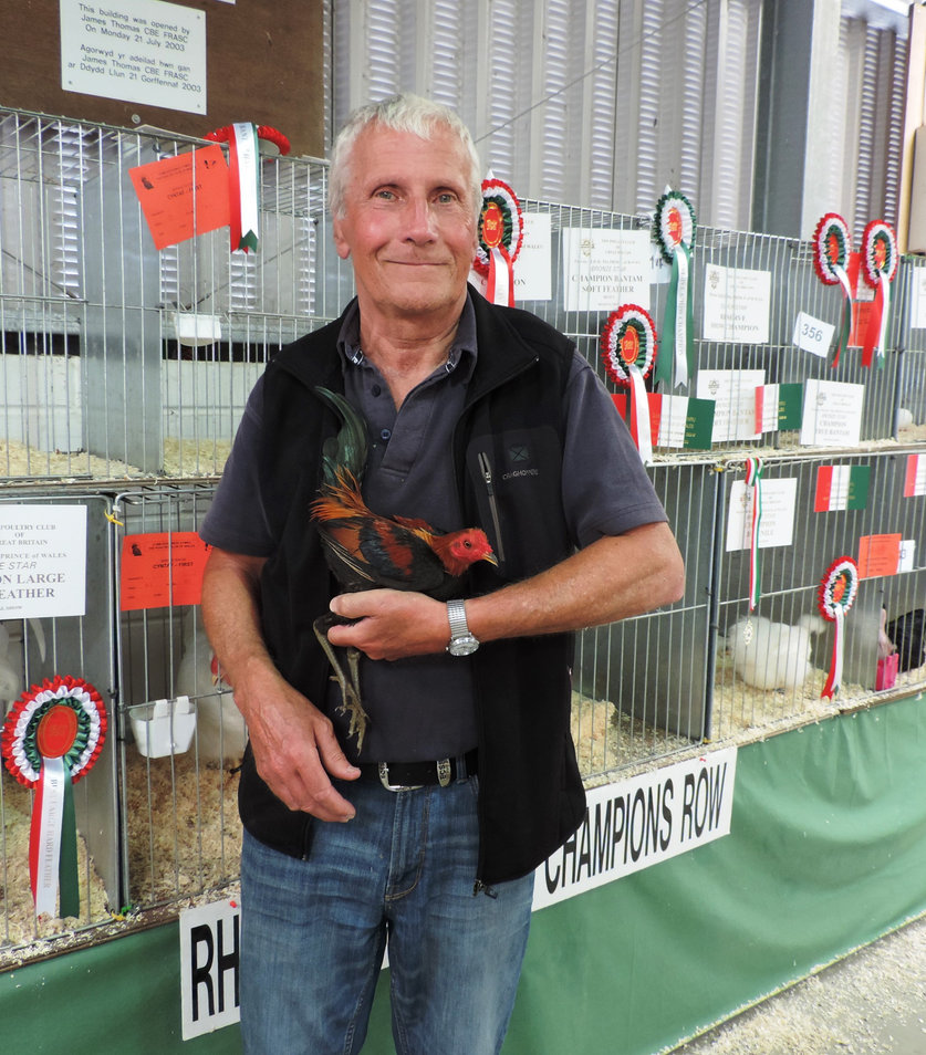 Hugh Price with his Best Hard Feather Bantam