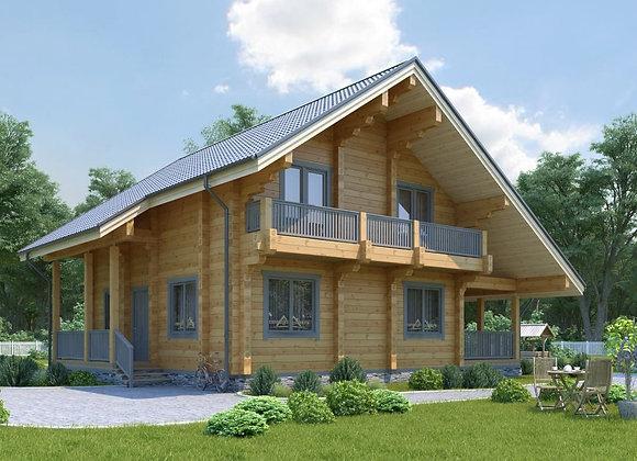 """Дом из клееного бруса """"К-2"""" 184м² (9.5*12.6)"""