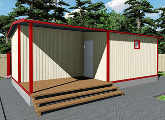 4-Модульный дом BKDD 4-1 (38,4м2) с большой верандой