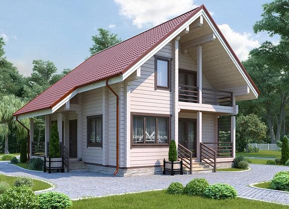 """Дом из клееного бруса """"К-10"""" 155.2м² (9.5*9.4)"""