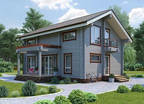 """Дом из клееного бруса """"К-6"""" 172.4м² (12*10.8)"""