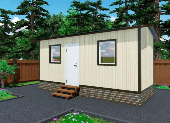 1-Модульный дом BKDD 1-3 (14,4м2) с двухскатной крышей