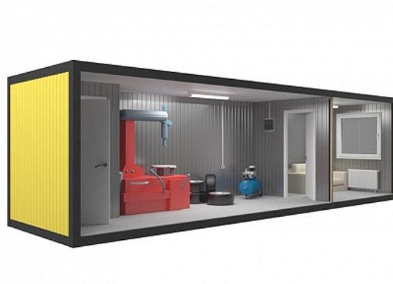 Блок контейнер под шиномонтаж 9х2,4м с комнатой для посетителя