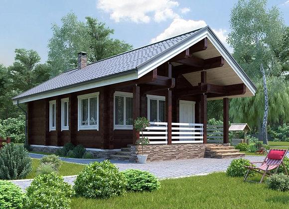 """Дом из клееного бруса """"К-14"""" 62.2м² (6*10.7)"""