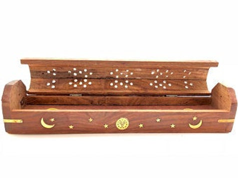 Wooden Coffin Incense Burner